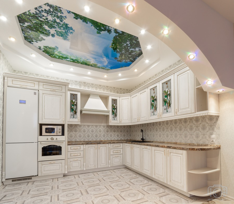 Бежевые кухни-Кухня из шпона «Модель 8»-фото1