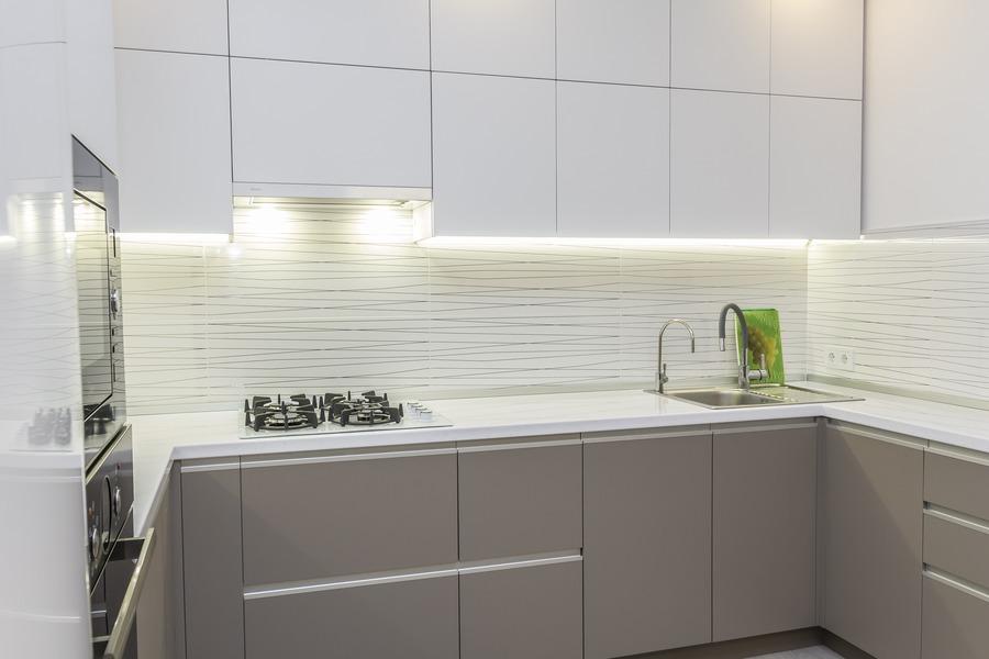 Белый кухонный гарнитур-Кухня МДФ в ПВХ «Модель 9»-фото2
