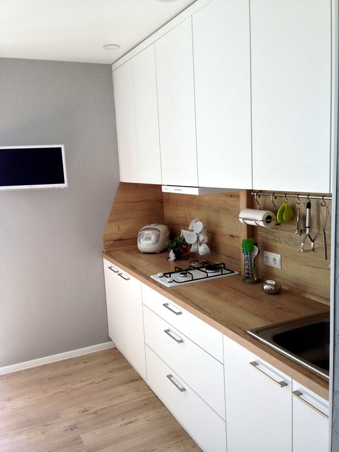 Белый кухонный гарнитур-Кухня МДФ в ПВХ «Модель 121»-фото2