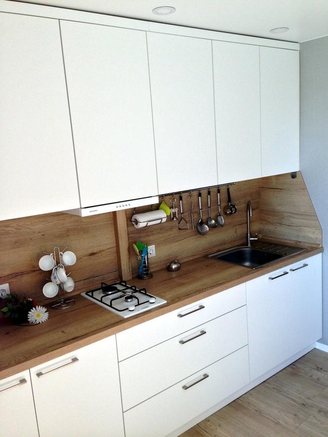 Белый кухонный гарнитур-Кухня МДФ в ПВХ «Модель 121»-фото3