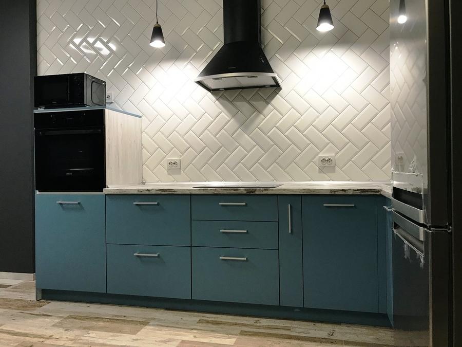 Купить голубую кухню-Кухня из пластика «Модель 373»-фото2