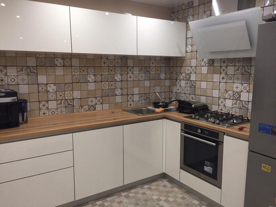 Белый кухонный гарнитур-Кухня из пластика «Модель 437»-фото2
