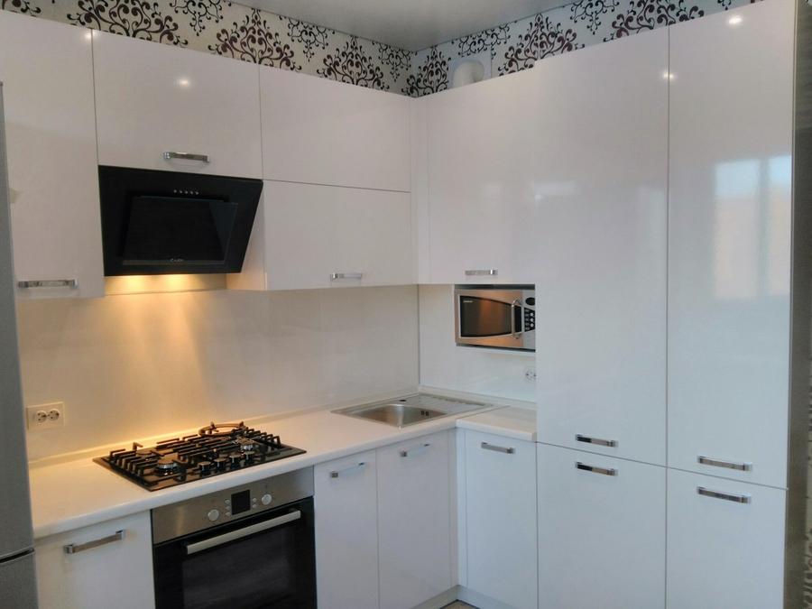 Белый кухонный гарнитур-Кухня из пластика «Модель 468»-фото2