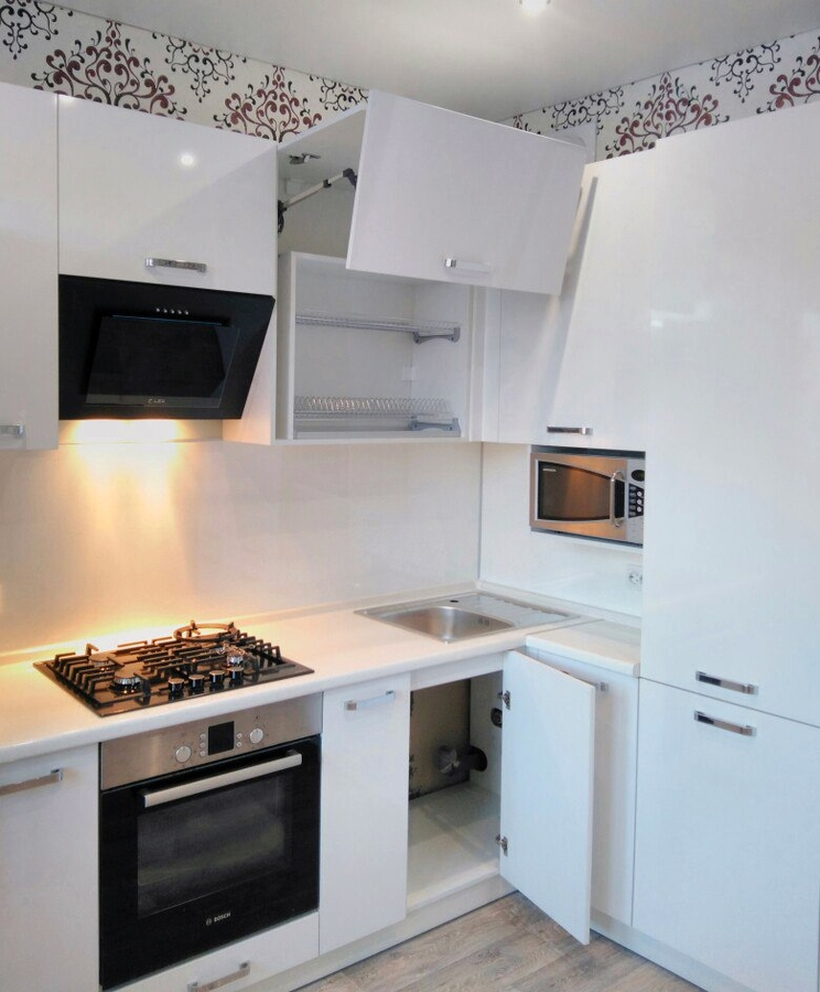 Белый кухонный гарнитур-Кухня из пластика «Модель 468»-фото1
