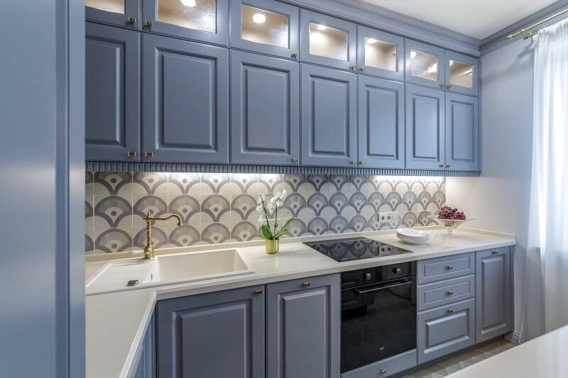 Встроенная кухня-Кухня МДФ в эмали «Модель 420»-фото1