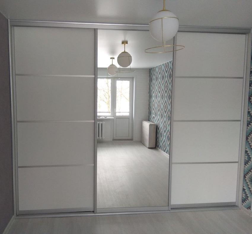 Белые шкафы-купе-Шкаф-купе с зеркалом «Модель 344»-фото1