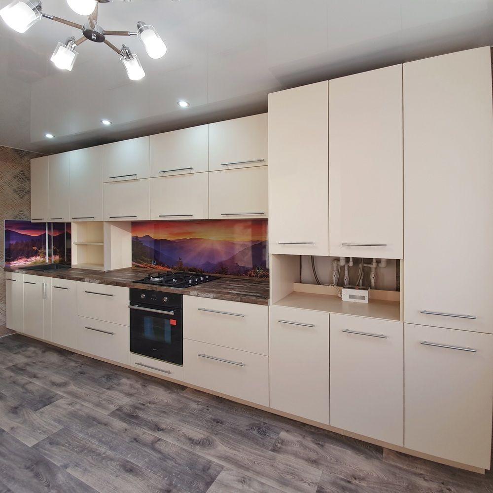 Белый кухонный гарнитур-Кухня МДФ в эмали «Модель 542»-фото1