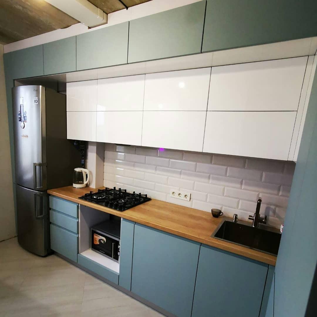 Встроенная кухня-Кухня МДФ в эмали «Модель 624»-фото1