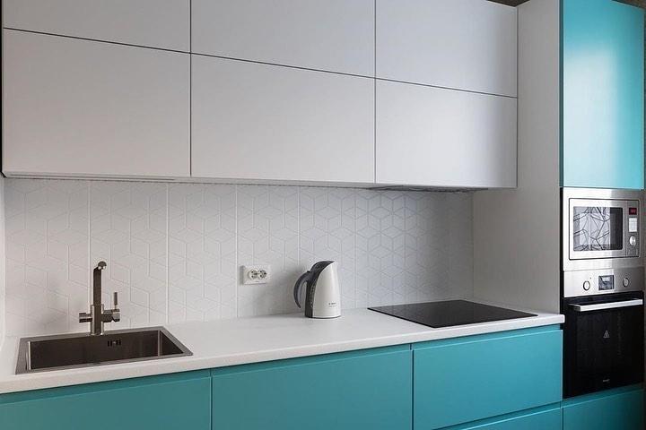 Белый кухонный гарнитур-Кухня МДФ в эмали «Модель 584»-фото5