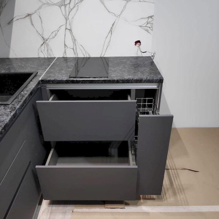 Высокие кухни под потолок-Кухня МДФ в ПВХ «Модель 673»-фото5