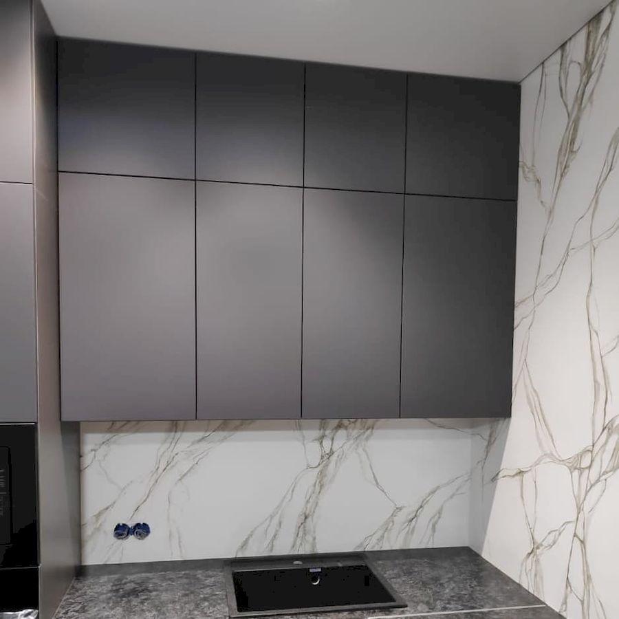 Высокие кухни под потолок-Кухня МДФ в ПВХ «Модель 673»-фото4
