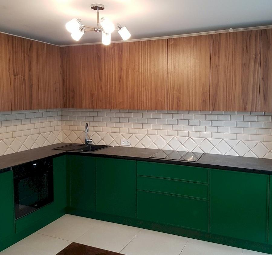 Купить зеленую кухню-Кухня МДФ в эмали «Модель 599»-фото1