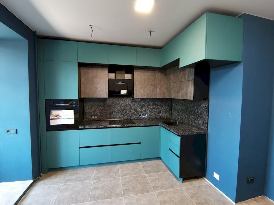 Купить бирюзовую кухню-Кухня МДФ в ПВХ «Модель 576»-фото4
