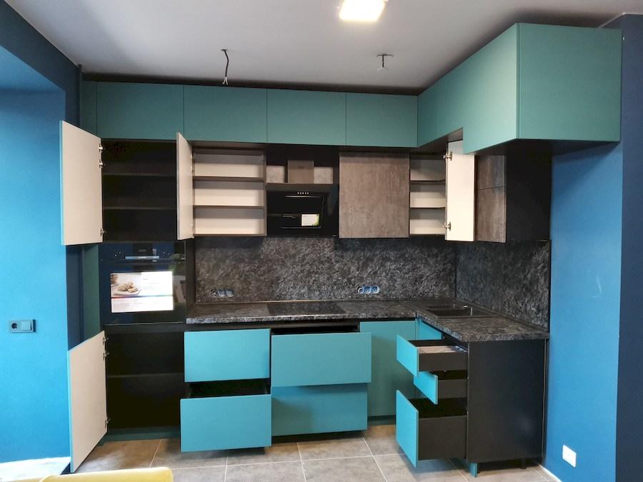 Купить бирюзовую кухню-Кухня МДФ в ПВХ «Модель 576»-фото6