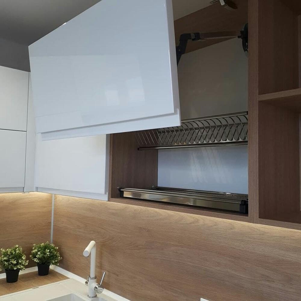Белый кухонный гарнитур-Кухня МДФ в эмали «Модель 171»-фото1