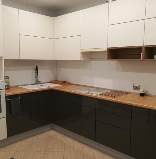 Белый кухонный гарнитур-Кухня МДФ в эмали «Модель 456»-фото4